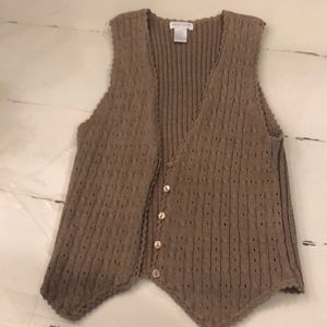 Beige cardigan vest knitted